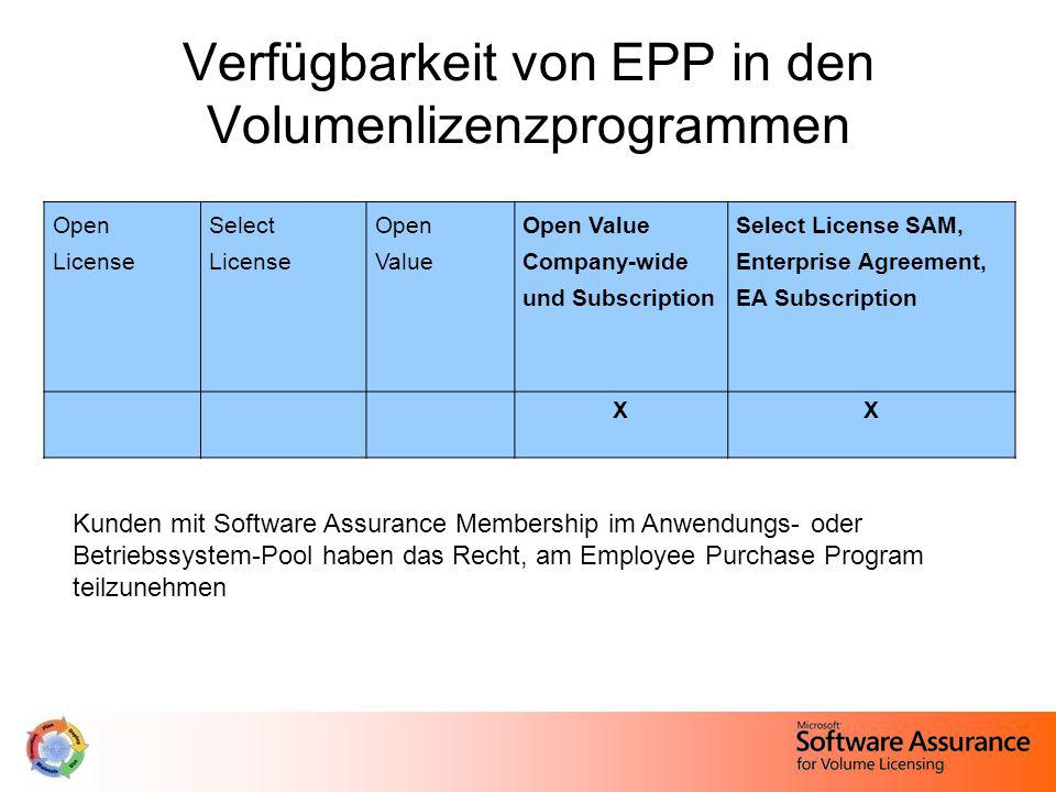 Verfügbarkeit von EPP in den Volumenlizenzprogrammen Open License Select License Open Value Open Value Company-wide und Subscription Select License SAM, Enterprise Agreement, EA Subscription XX Kunden mit Software Assurance Membership im Anwendungs- oder Betriebssystem-Pool haben das Recht, am Employee Purchase Program teilzunehmen