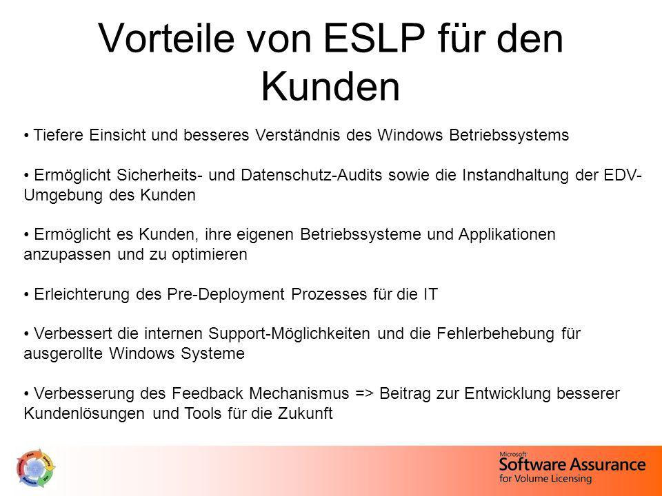 Vorteile von ESLP für den Kunden Tiefere Einsicht und besseres Verständnis des Windows Betriebssystems Ermöglicht Sicherheits- und Datenschutz-Audits