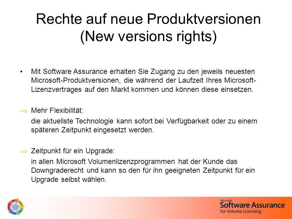 Rechte auf neue Produktversionen (New versions rights) Mit Software Assurance erhalten Sie Zugang zu den jeweils neuesten Microsoft-Produktversionen,