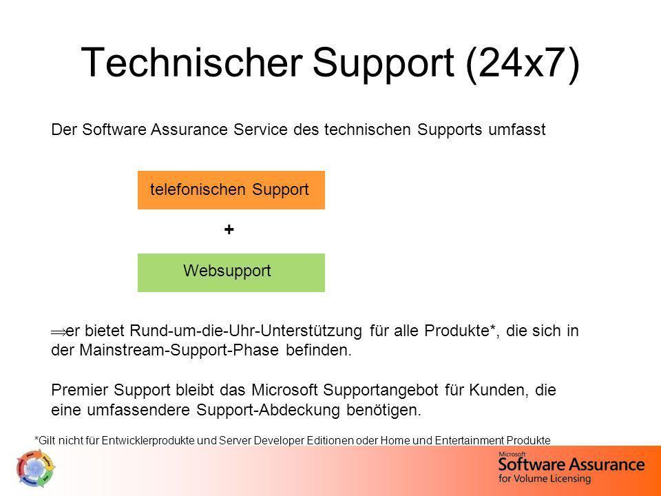 Technischer Support (24x7) Der Software Assurance Service des technischen Supports umfasst telefonischen Support + Websupport er bietet Rund-um-die-Uh