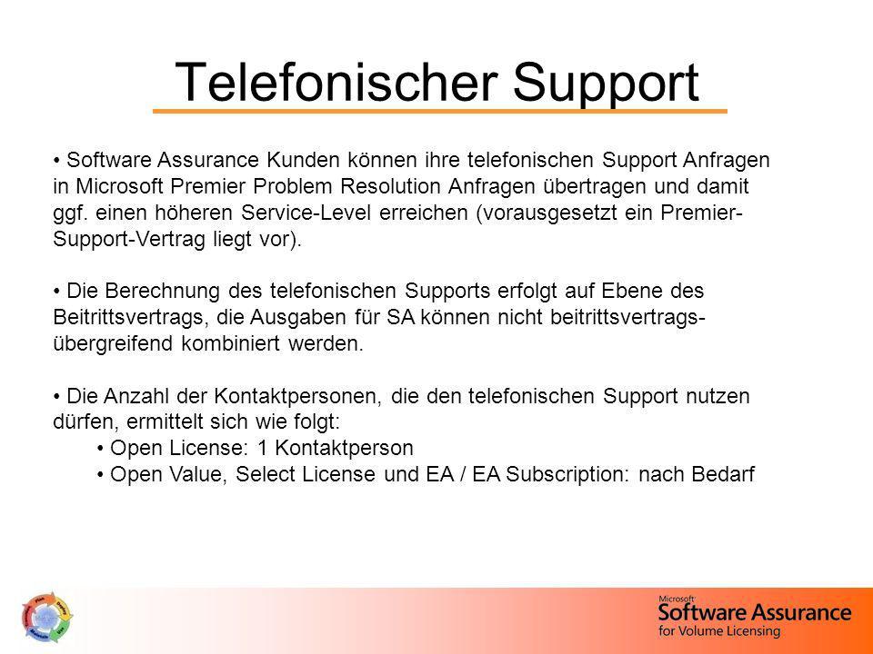 Telefonischer Support Software Assurance Kunden können ihre telefonischen Support Anfragen in Microsoft Premier Problem Resolution Anfragen übertragen