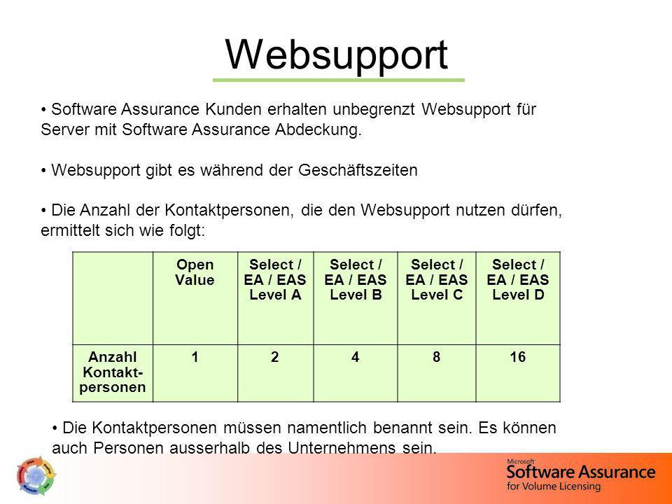Websupport Software Assurance Kunden erhalten unbegrenzt Websupport für Server mit Software Assurance Abdeckung. Websupport gibt es während der Geschä
