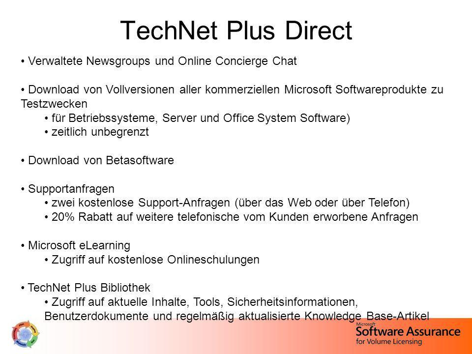 TechNet Plus Direct Verwaltete Newsgroups und Online Concierge Chat Download von Vollversionen aller kommerziellen Microsoft Softwareprodukte zu Testz