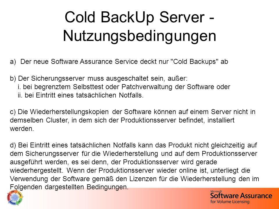 a)Der neue Software Assurance Service deckt nur