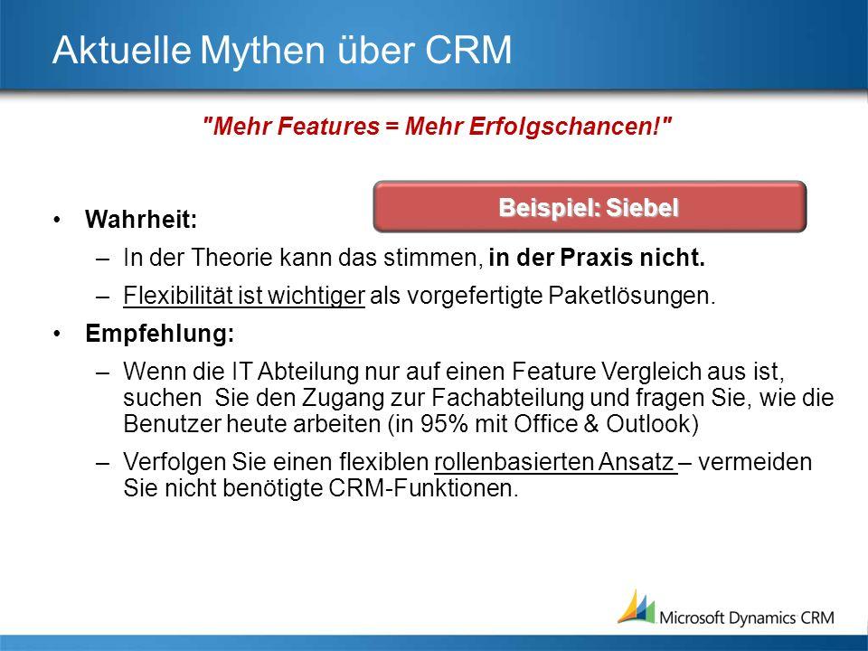 Aktuelle Mythen über CRM Wahrheit: –Mitarbeiter können auf unterschiedliche Weise (passiv oder aktiv) CRM-Systeme vermeiden, die ihnen nicht gefallen.