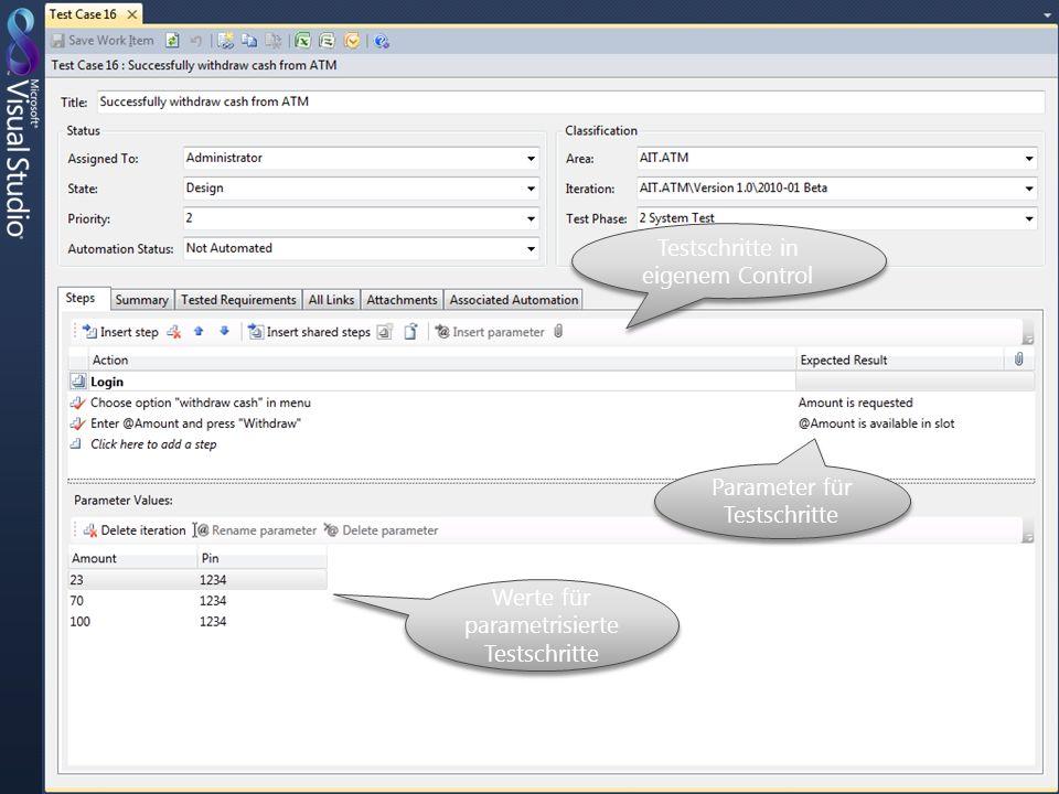 Testschritte in eigenem Control Werte für parametrisierte Testschritte Parameter für Testschritte