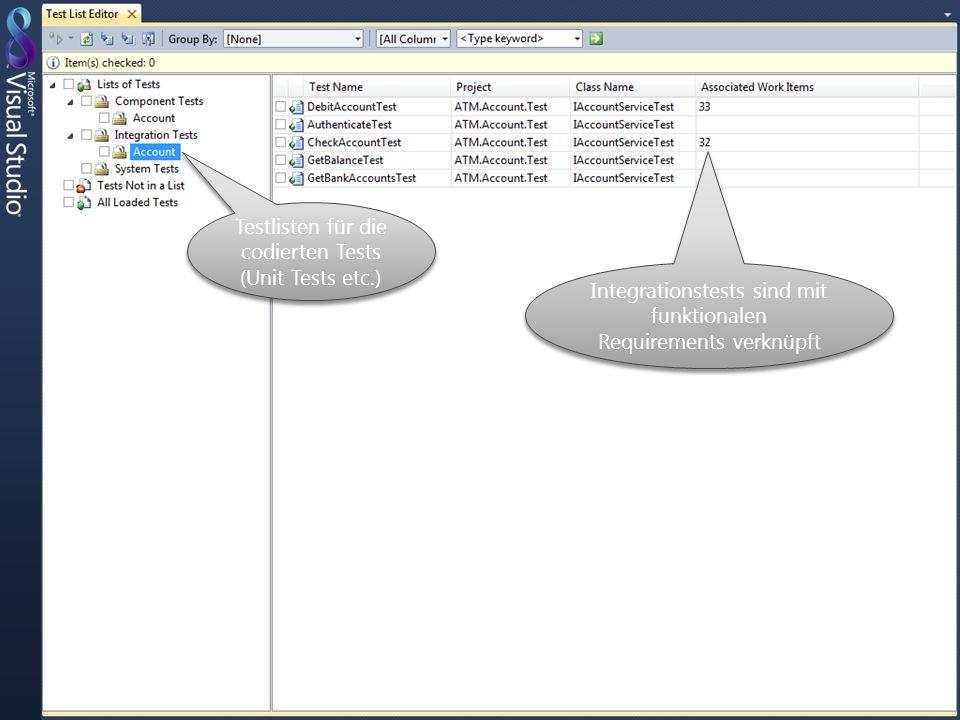 Testlisten für die codierten Tests (Unit Tests etc.) Integrationstests sind mit funktionalen Requirements verknüpft
