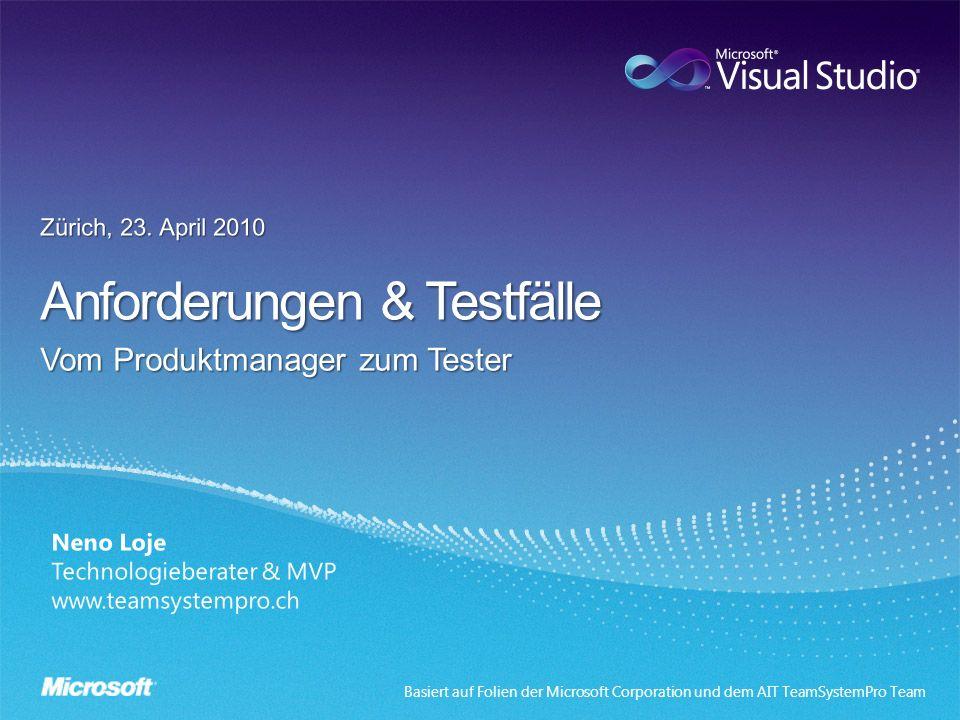 Basiert auf Folien der Microsoft Corporation und dem AIT TeamSystemPro Team