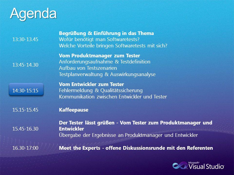 13:30-13.45 Begrüßung & Einführung in das Thema Wofür benötigt man Softwaretests? Welche Vorteile bringen Softwaretests mit sich? 13:45-14.30 Vom Prod