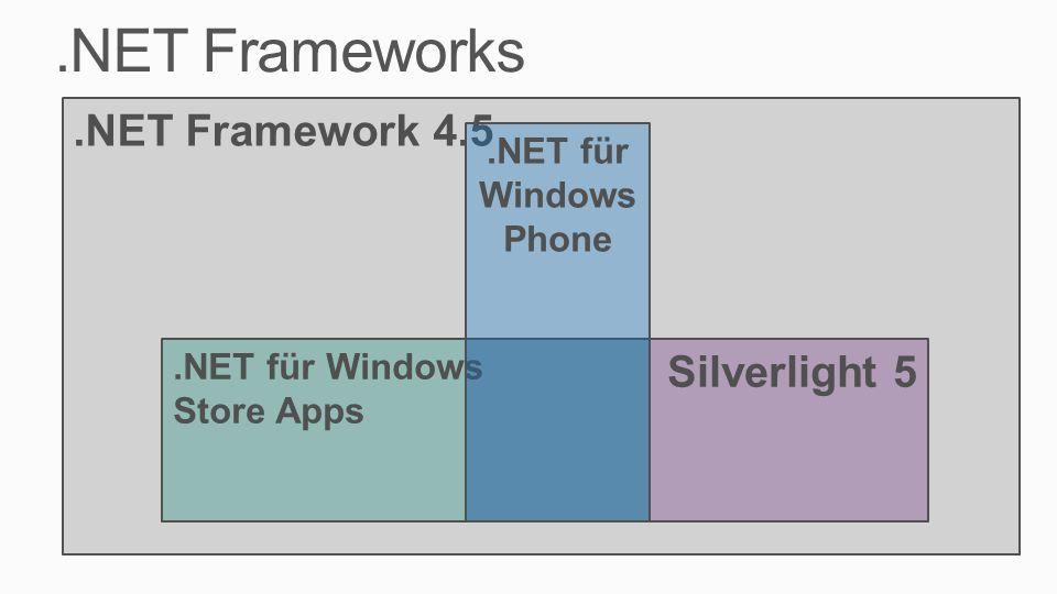 .NET Frameworks.NET Framework 4.5 Silverlight 5.NET für Windows Store Apps.NET für Windows Phone