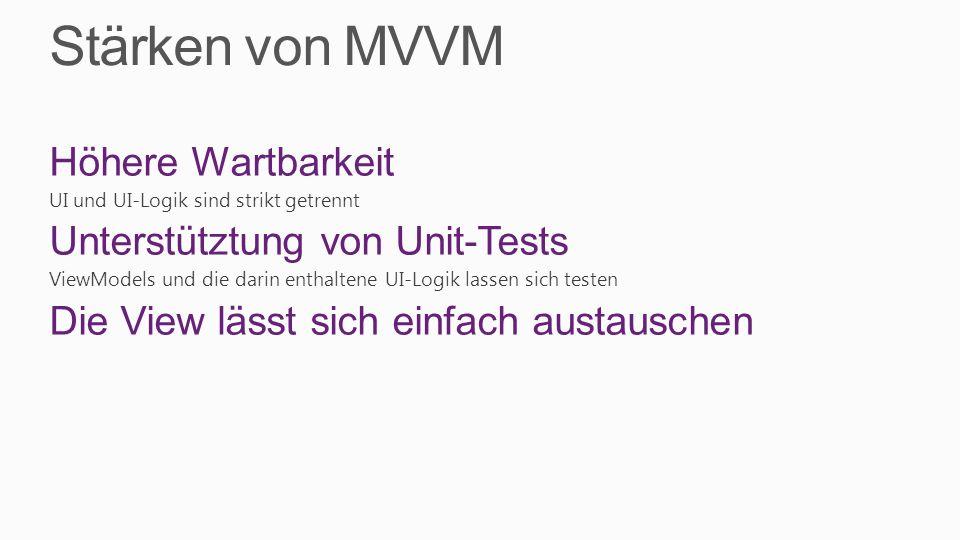 Stärken von MVVM Höhere Wartbarkeit UI und UI-Logik sind strikt getrennt Unterstütztung von Unit-Tests ViewModels und die darin enthaltene UI-Logik la