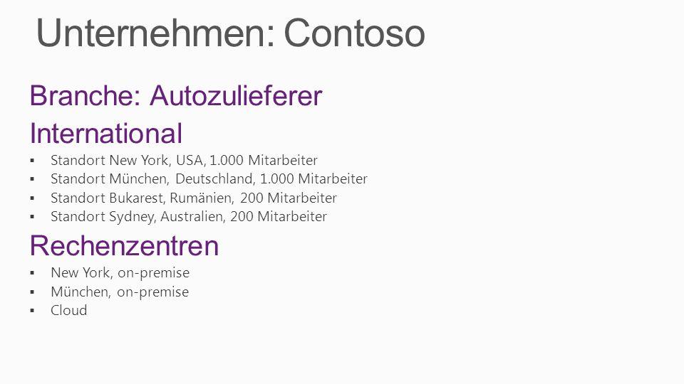 Unternehmen: Contoso Branche: Autozulieferer International Standort New York, USA, 1.000 Mitarbeiter Standort München, Deutschland, 1.000 Mitarbeiter Standort Bukarest, Rumänien, 200 Mitarbeiter Standort Sydney, Australien, 200 Mitarbeiter Rechenzentren New York, on-premise München, on-premise Cloud