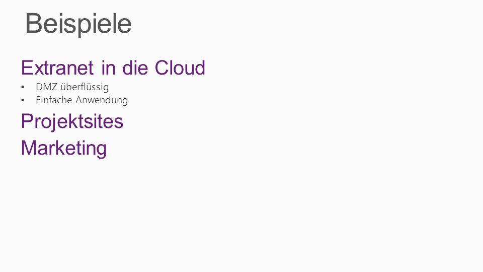 Beispiele Extranet in die Cloud DMZ überflüssig Einfache Anwendung Projektsites Marketing