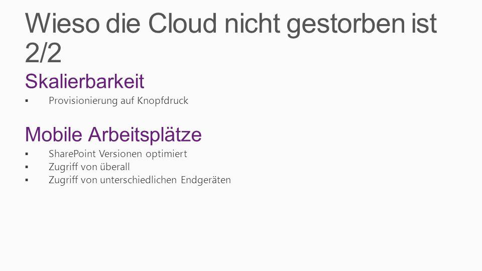 Wieso die Cloud nicht gestorben ist 2/2 Skalierbarkeit Provisionierung auf Knopfdruck Mobile Arbeitsplätze SharePoint Versionen optimiert Zugriff von überall Zugriff von unterschiedlichen Endgeräten