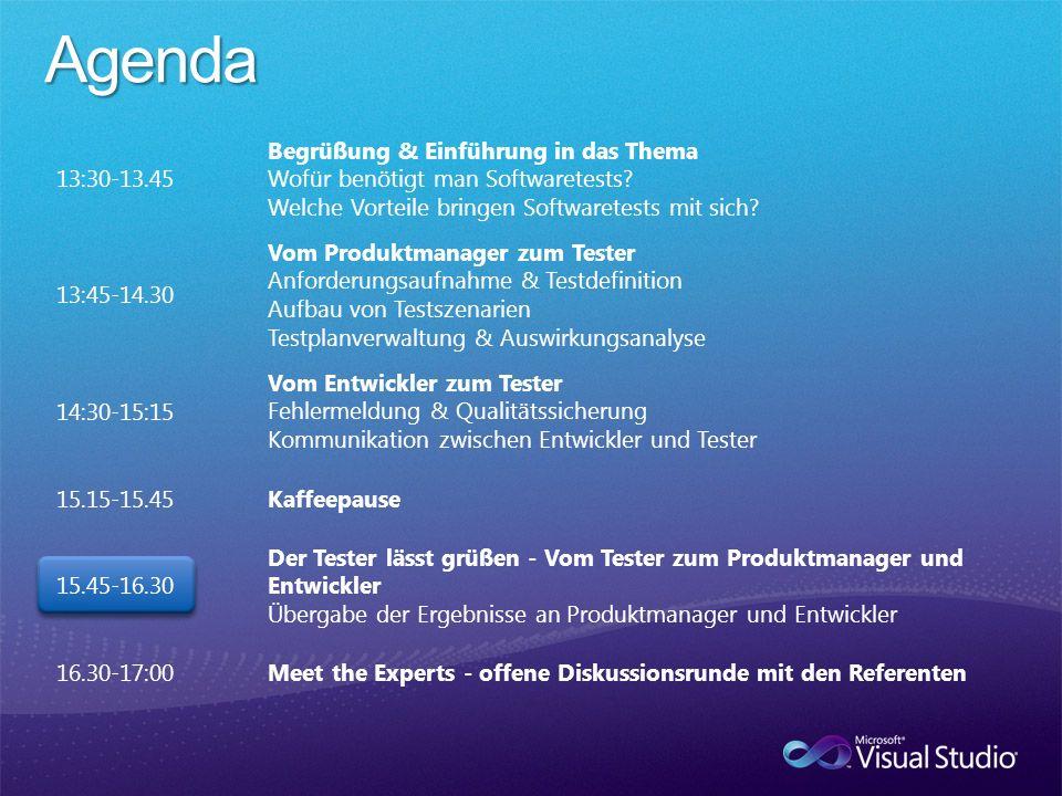 13:30-13.45 Begrüßung & Einführung in das Thema Wofür benötigt man Softwaretests.