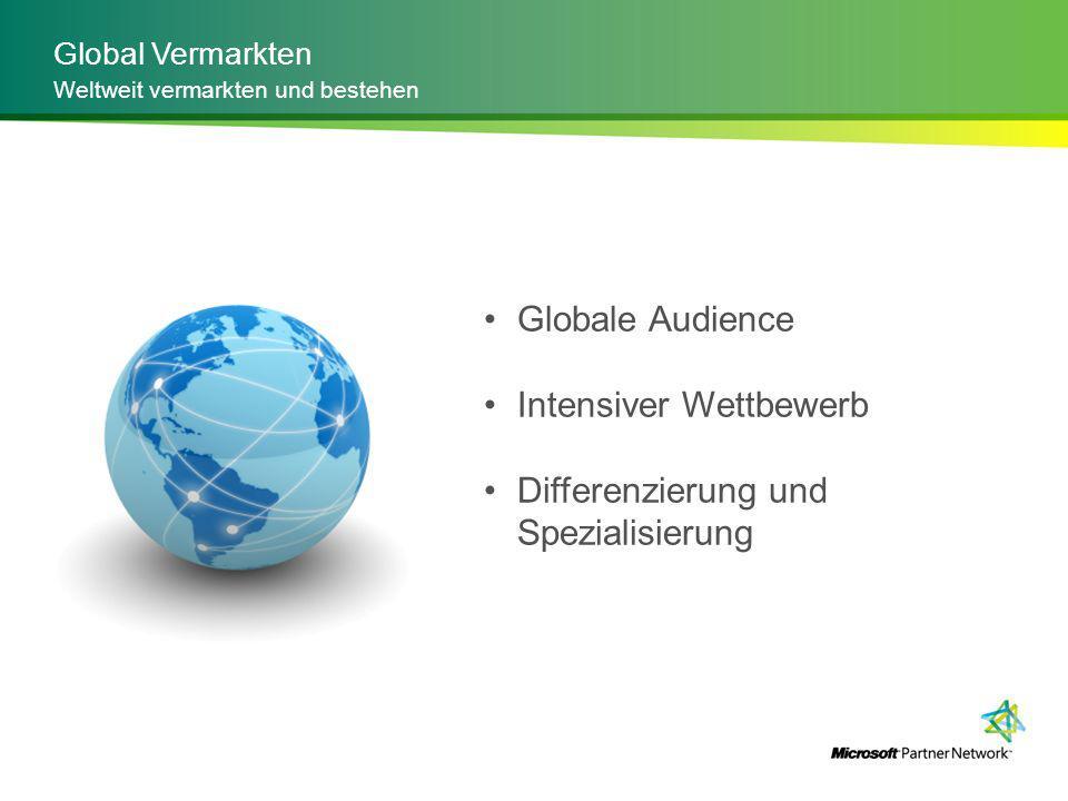 Global Vermarkten Weltweit vermarkten und bestehen Globale Audience Intensiver Wettbewerb Differenzierung und Spezialisierung