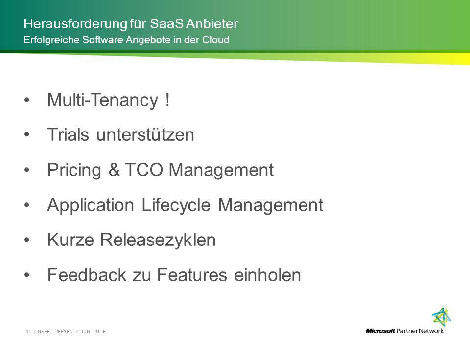 Herausforderung für SaaS Anbieter INSERT PRESENTATION TITLE15 | Erfolgreiche Software Angebote in der Cloud Multi-Tenancy .