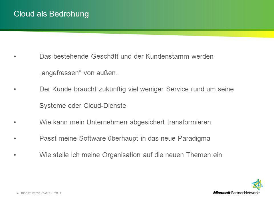 Cloud als Bedrohung INSERT PRESENTATION TITLE4 | Das bestehende Geschäft und der Kundenstamm werden angefressen von außen.