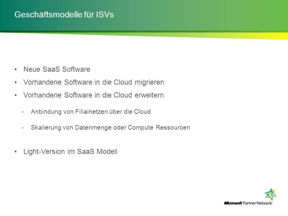 Neue SaaS Software Vorhandene Software in die Cloud migrieren Vorhandene Software in die Cloud erweitern Anbindung von Filialnetzen über die Cloud Skalierung von Datenmenge oder Compute Ressourcen Light-Version im SaaS Modell
