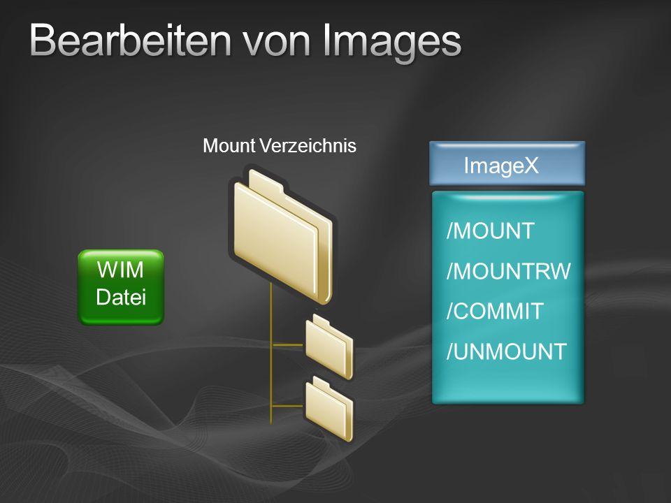 /MOUNT /MOUNTRW /COMMIT /UNMOUNT Mount Verzeichnis ImageX WIM Datei