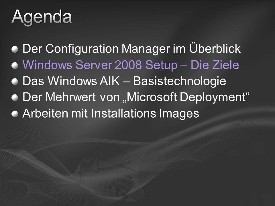 Der Configuration Manager im Überblick Windows Server 2008 Setup – Die Ziele Das Windows AIK – Basistechnologie Der Mehrwert von Microsoft Deployment Arbeiten mit Installations Images