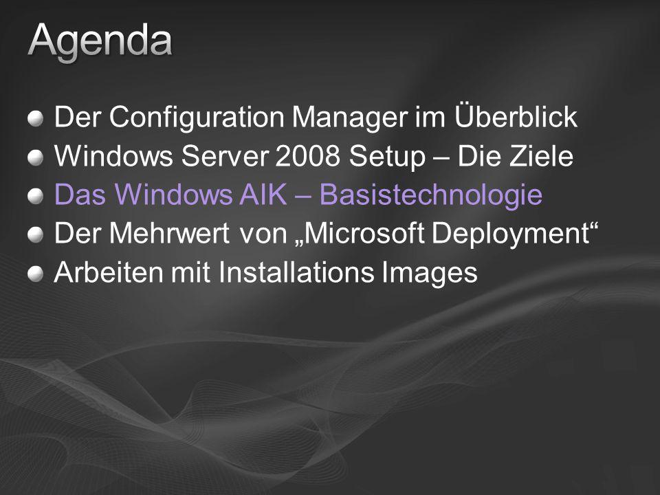 Werkzeuge für Konfiguration und Installation von Windows Inhalt: WDS Paket (für Windows Server 2003 SP1) Image Manager & CPI Image Wartung: ImageX Kommandozeilen Werkzeug, WIM API WIM File Filter Image Servicing: Package Manager Setup und Deployment Werkzeuge Oscdimg.exe Sys.exe, DskImage.exe Drvload.exe Fixntfs.exe, Fixfat.exe WinPE Dokumentation & Whitepaper