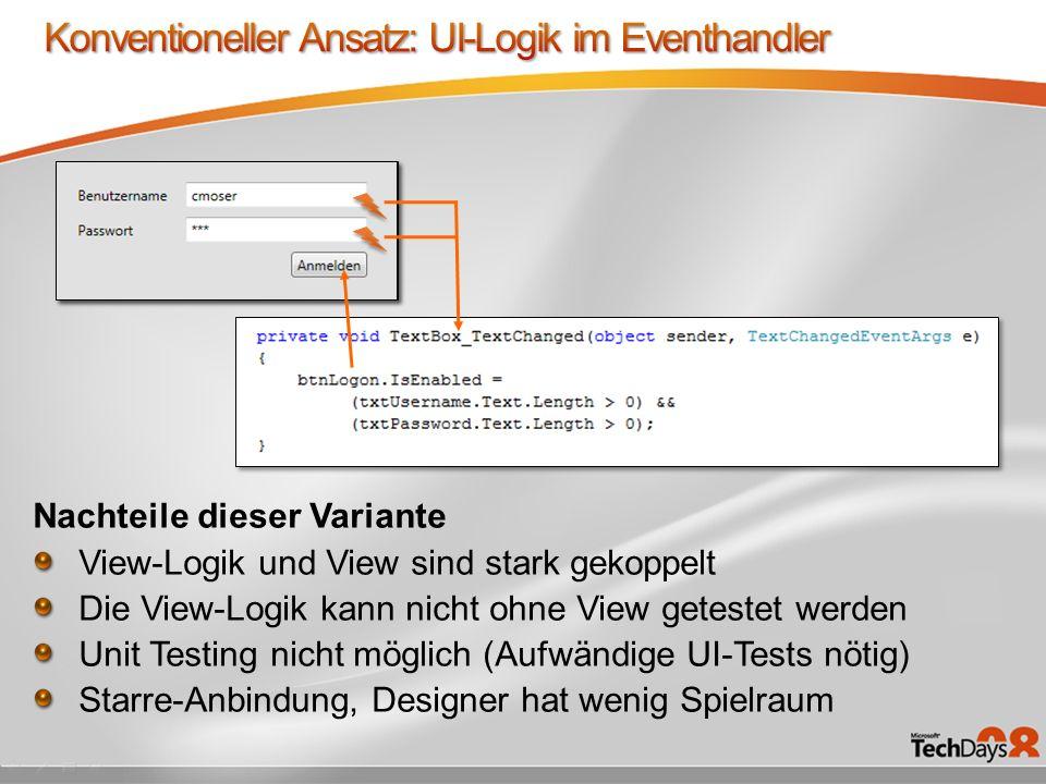 Nachteile dieser Variante View-Logik und View sind stark gekoppelt Die View-Logik kann nicht ohne View getestet werden Unit Testing nicht möglich (Aufwändige UI-Tests nötig) Starre-Anbindung, Designer hat wenig Spielraum