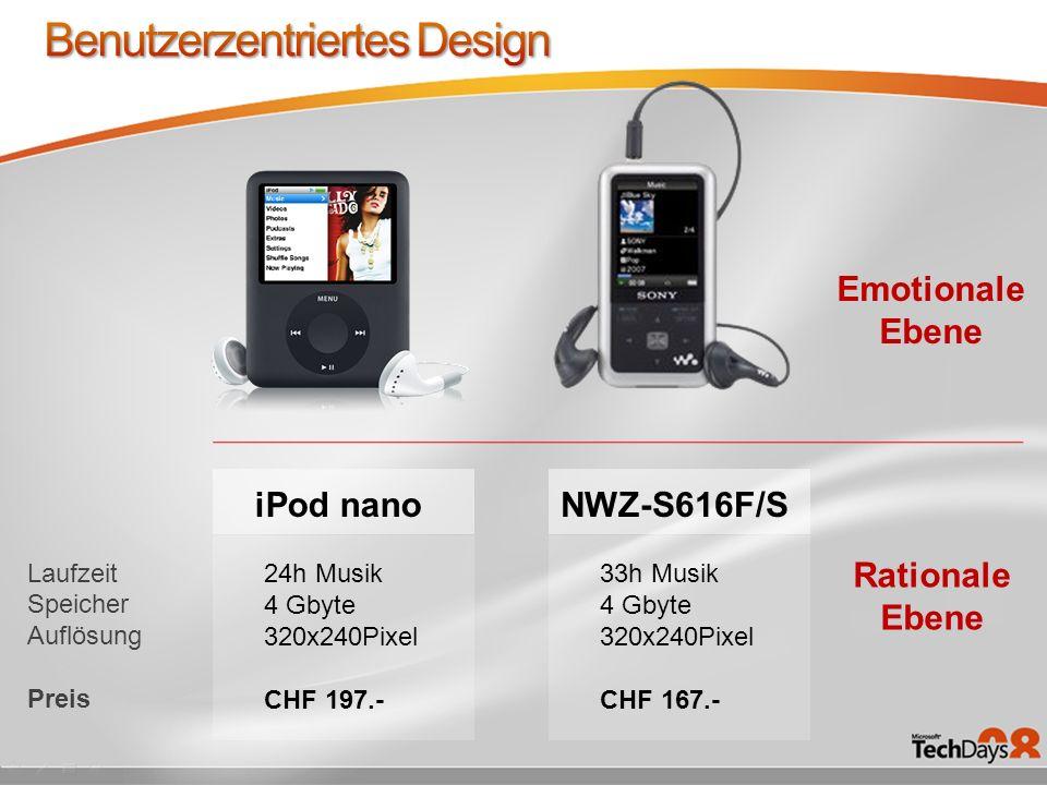 NWZ-S616F/S Laufzeit Speicher Auflösung Preis Rationale Ebene Emotionale Ebene 33h Musik 4 Gbyte 320x240Pixel CHF 167.- 24h Musik 4 Gbyte 320x240Pixel CHF 197.- iPod nano