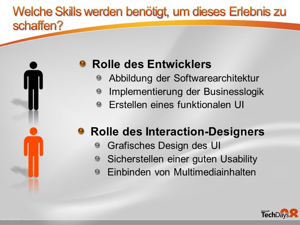 Rolle des Entwicklers Abbildung der Softwarearchitektur Implementierung der Businesslogik Erstellen eines funktionalen UI Rolle des Interaction-Designers Grafisches Design des UI Sicherstellen einer guten Usability Einbinden von Multimediainhalten