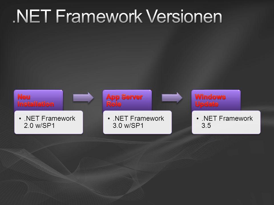 .NET Framework 2.0 w/SP1.NET Framework 3.0 w/SP1.NET Framework 3.5