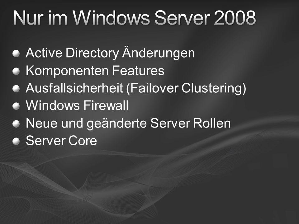 Active Directory Änderungen Komponenten Features Ausfallsicherheit (Failover Clustering) Windows Firewall Neue und geänderte Server Rollen Server Core