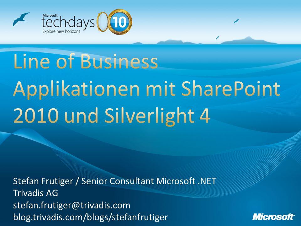 Stefan Frutiger / Senior Consultant Microsoft.NET Trivadis AG stefan.frutiger@trivadis.com blog.trivadis.com/blogs/stefanfrutiger