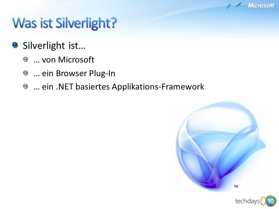 Silverlight ist… … von Microsoft … ein Browser Plug-In … ein.NET basiertes Applikations-Framework