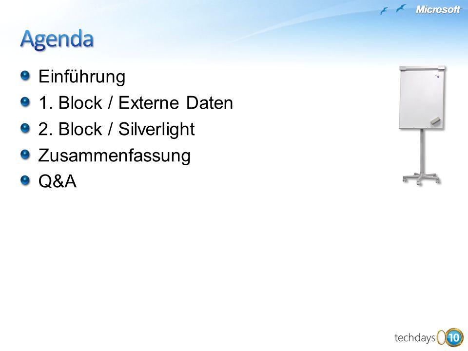 Einführung 1. Block / Externe Daten 2. Block / Silverlight Zusammenfassung Q&A