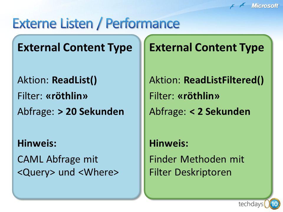 External Content Type Aktion: ReadList() Filter: «röthlin» Abfrage: > 20 Sekunden Hinweis: CAML Abfrage mit und External Content Type Aktion: ReadList