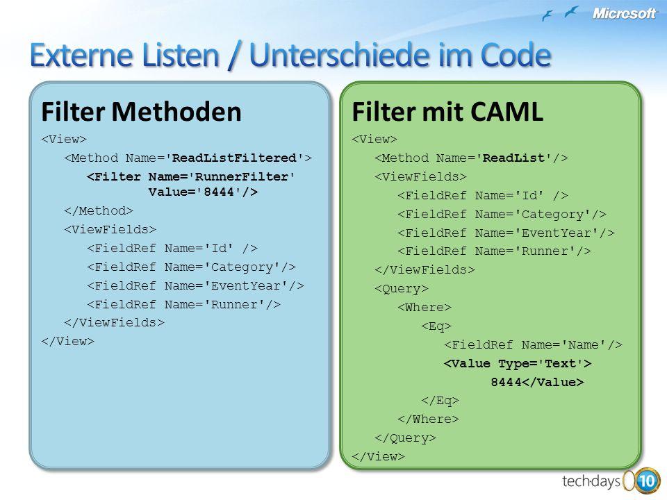 Filter Methoden Filter Methoden Filter mit CAML 8444 Filter mit CAML 8444