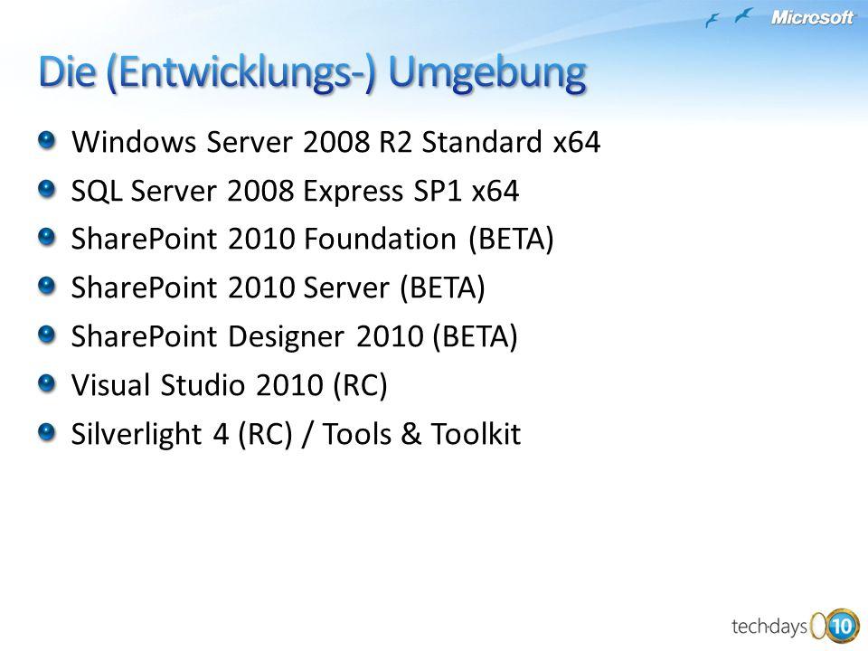 Windows Server 2008 R2 Standard x64 SQL Server 2008 Express SP1 x64 SharePoint 2010 Foundation (BETA) SharePoint 2010 Server (BETA) SharePoint Designe
