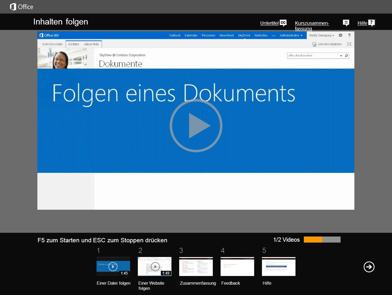 51 234 Kurszusammen- fassung Hilfe Eine einfache Methode, um Dokumente und andere Elemente in Ihrer SkyDrive Pro-Bibliothek nachzuverfolgen, besteht darin, einem dieser Elemente zu folgen.