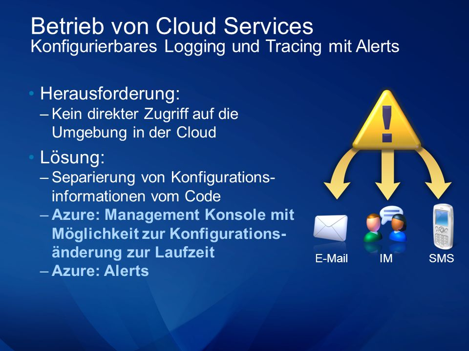 Betrieb von Cloud Services Konfigurierbares Logging und Tracing mit Alerts Herausforderung: –Kein direkter Zugriff auf die Umgebung in der Cloud Lösung: –Separierung von Konfigurations- informationen vom Code –Azure: Management Konsole mit Möglichkeit zur Konfigurations- änderung zur Laufzeit –Azure: Alerts E-MailIMSMS