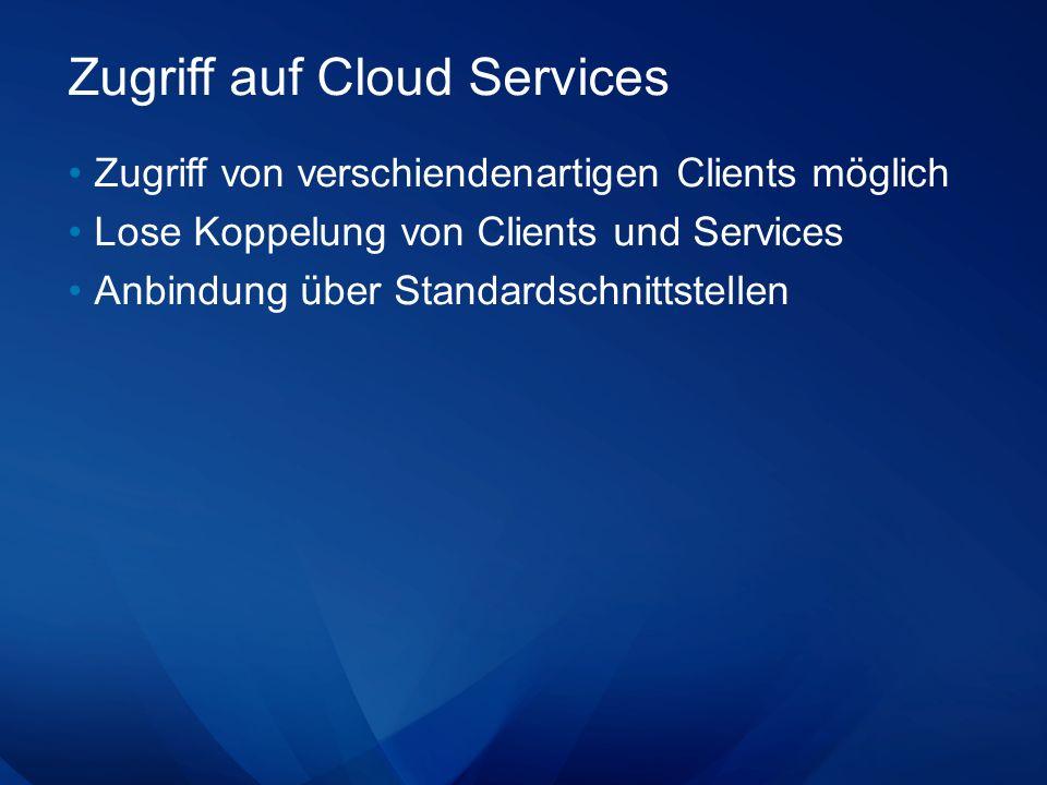 Zugriff auf Cloud Services Zugriff von verschiendenartigen Clients möglich Lose Koppelung von Clients und Services Anbindung über Standardschnittstellen