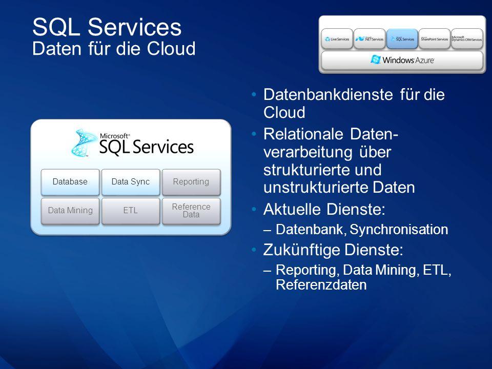 SQL Services Daten für die Cloud Datenbankdienste für die Cloud Relationale Daten- verarbeitung über strukturierte und unstrukturierte Daten Aktuelle Dienste: –Datenbank, Synchronisation Zukünftige Dienste: –Reporting, Data Mining, ETL, Referenzdaten Database Data Sync Reporting Data Mining ETL Reference Data