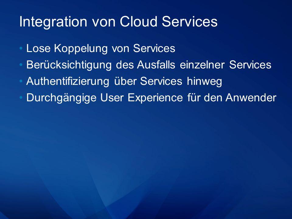Integration von Cloud Services Lose Koppelung von Services Berücksichtigung des Ausfalls einzelner Services Authentifizierung über Services hinweg Durchgängige User Experience für den Anwender