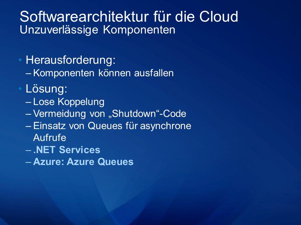 Softwarearchitektur für die Cloud Unzuverlässige Komponenten Herausforderung: –Komponenten können ausfallen Lösung: –Lose Koppelung –Vermeidung von Shutdown-Code –Einsatz von Queues für asynchrone Aufrufe –.NET Services –Azure: Azure Queues