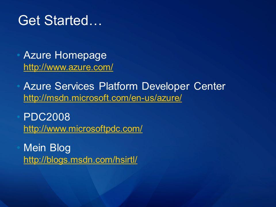 Get Started… Azure Homepage http://www.azure.com/ http://www.azure.com/ Azure Services Platform Developer Center http://msdn.microsoft.com/en-us/azure/ http://msdn.microsoft.com/en-us/azure/ PDC2008 http://www.microsoftpdc.com/ http://www.microsoftpdc.com/ Mein Blog http://blogs.msdn.com/hsirtl/ http://blogs.msdn.com/hsirtl/