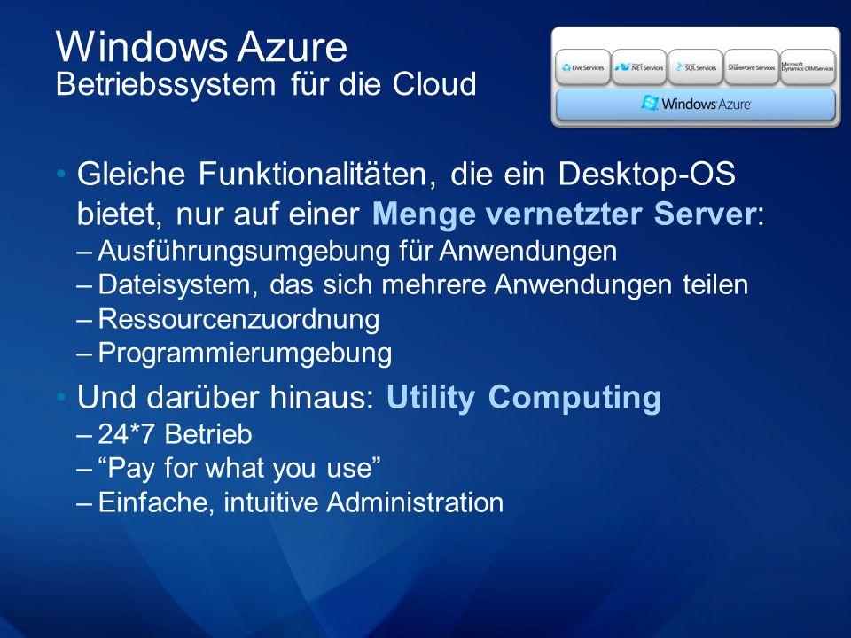 Windows Azure Betriebssystem für die Cloud Gleiche Funktionalitäten, die ein Desktop-OS bietet, nur auf einer Menge vernetzter Server: –Ausführungsumgebung für Anwendungen –Dateisystem, das sich mehrere Anwendungen teilen –Ressourcenzuordnung –Programmierumgebung Und darüber hinaus: Utility Computing –24*7 Betrieb –Pay for what you use –Einfache, intuitive Administration