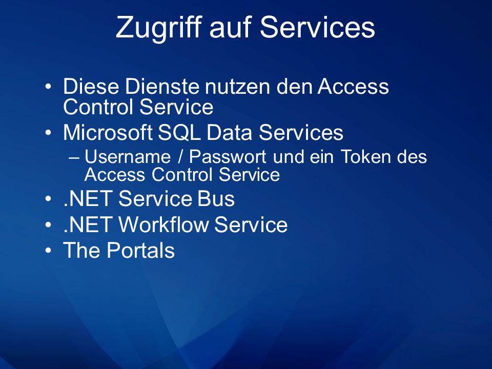 Diese Dienste nutzen den Access Control Service Microsoft SQL Data Services –Username / Passwort und ein Token des Access Control Service.NET Service