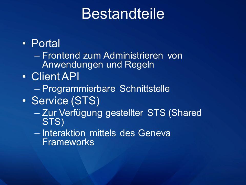 Portal –Frontend zum Administrieren von Anwendungen und Regeln Client API –Programmierbare Schnittstelle Service (STS) –Zur Verfügung gestellter STS (