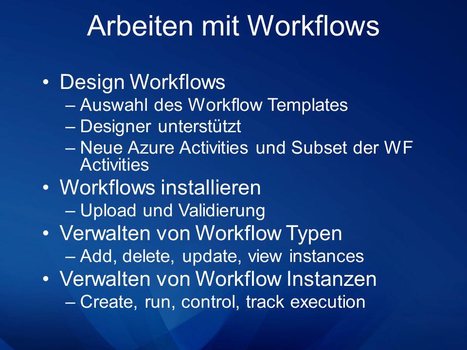 Design Workflows –Auswahl des Workflow Templates –Designer unterstützt –Neue Azure Activities und Subset der WF Activities Workflows installieren –Upl