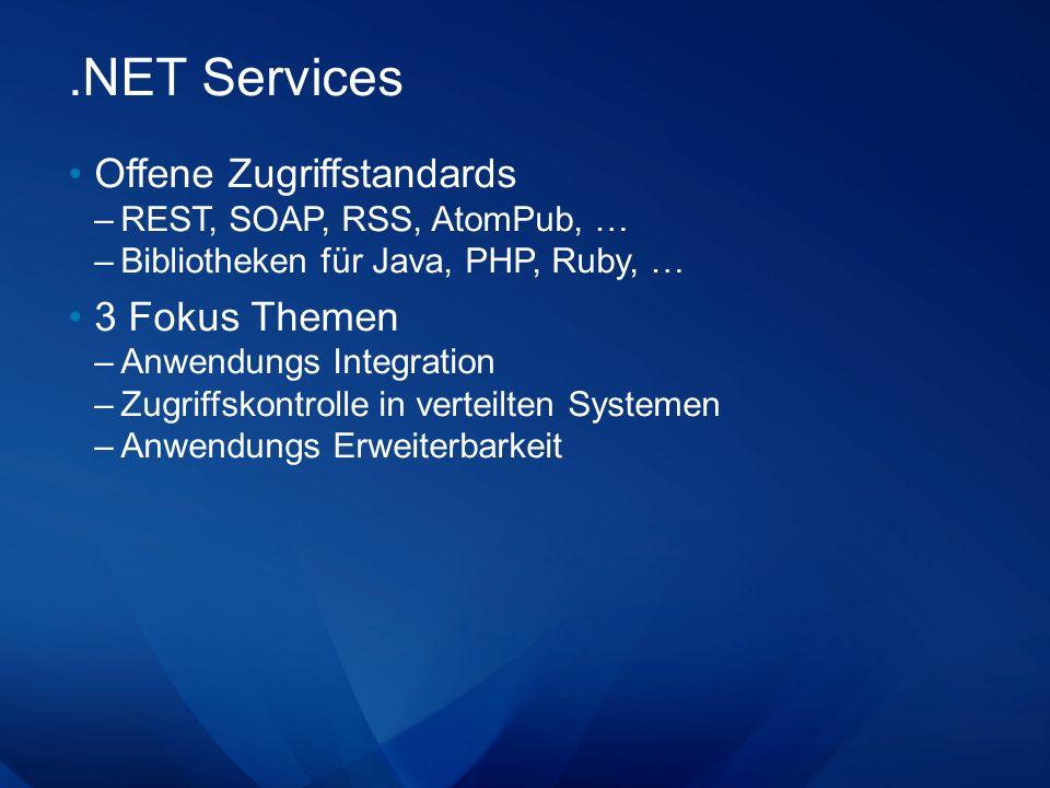 .NET Services Offene Zugriffstandards –REST, SOAP, RSS, AtomPub, … –Bibliotheken für Java, PHP, Ruby, … 3 Fokus Themen –Anwendungs Integration –Zugrif