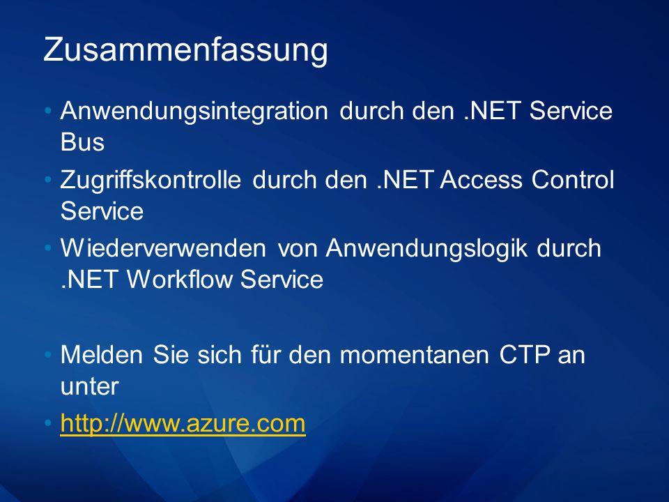 Zusammenfassung Anwendungsintegration durch den.NET Service Bus Zugriffskontrolle durch den.NET Access Control Service Wiederverwenden von Anwendungsl